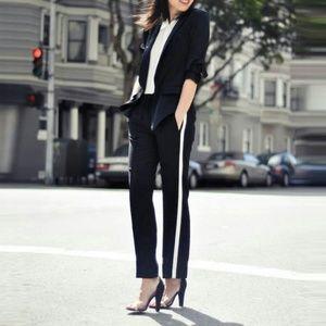 ZARA Woman Black White Cigarette Tuxedo Pants